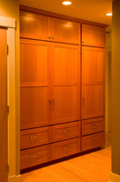 Thumb misc  shaker style  vertical grain fir  light color  recessed panel doors and drawer fronts  linen  closet  standard overlay