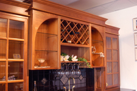 Thumb misc  traditional style  walnut  medium color   glass grid doors  wine rack  open shelf  wet bar  stemware holder  standard overlay