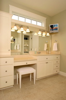 Thumb vanity  shaker style  painted  recessed panel  tower  desk  bank of 4 drawers  standard overlay