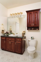 Thumb vanity  traditional style  cherry  cherry color  raised panel with arch  topper with open space  standard overlay