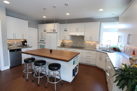 Thumb kitchen  contemporary style  painted  slab door  island overhang  corner sink  retro  all one height  full overlay