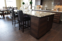 Thumb kitchen  contemporary style  quartersawn walnut  banded door  dark color  island overhang  custom wood hood  full overlay