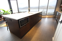 Thumb kitchen  contemporary style  quartersawn walnut  dark color  banded doors  frameless construction