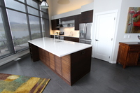 Thumb kitchen  contemporary style  quartersawn walnut  dark color  frameless construction