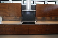Thumb kitchen  contemporary style  walnut  medium color  banded door  frameless construction  chimney hood  bank of drawers  horizontal grain match