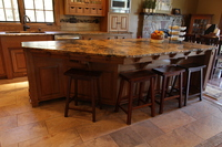 Thumb kitchen  craftsman style  quartersawn oak  medium color  flush mount  wood hood  appliance garage  front dovetail drawers  mini corbels on countertop skirt  posts  legs  with wood pegs