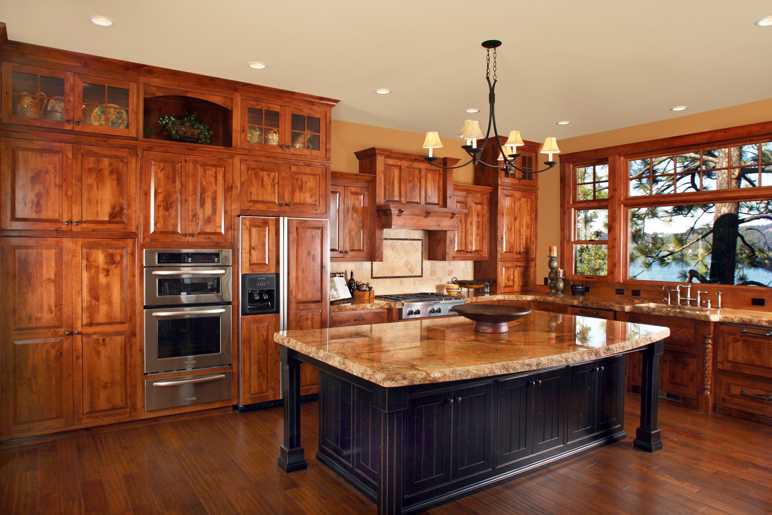 Marvelous photograph of  panel flush mount black accent color island wood hood island overhang with #AC4B1F color and 3239x2160 pixels