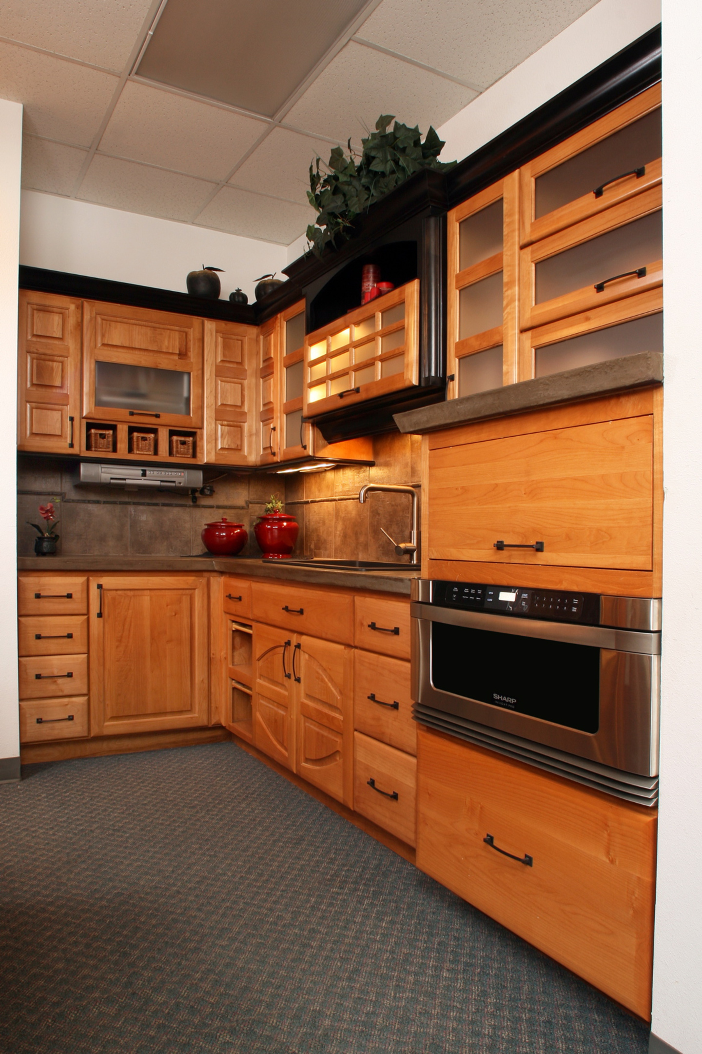 Affordable custom cabinets showroom for Flat black kitchen cabinets